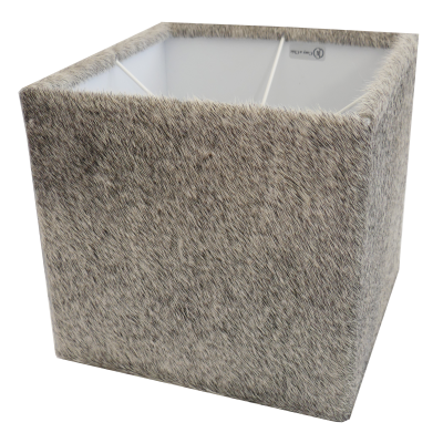 Lampshade square gray cowhide